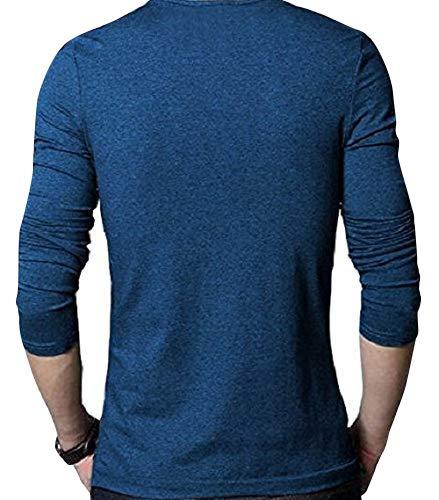 EYEBOGLER Men's Buttoned Cotton Navy Melange T-shirt (M-Ntb-Nm_Navy_Melange, Medium)