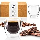 Tempery ✮ Tasse à café/Expresso/Espresso en Verre - 8cl - Set/Coffret de 2 Tasses à café Double paroi – Tasse Expresso Originale & Cadeau Parfait pour Toute Occasion