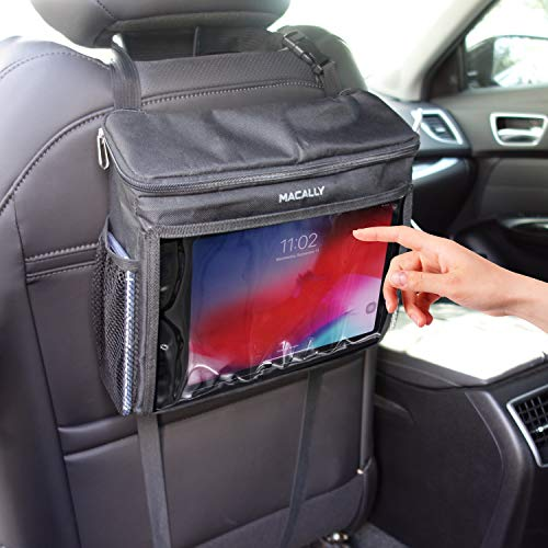 Tablet Holder for Car, Macally Insulated Car Back Seat Organizer - A Must Have for Long Drives - Compatible with any Vehicle Headrest & for iPad Pro/Air/Mini, Tablets, iPhone, Smartphones up to 10.5'