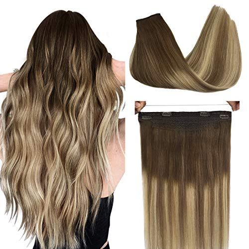 Doores Hair Extensions Human Hair Ombre Walnut Brown to Ash Brown and Bleach Blonde 18 Inch 80g Halo Hair Extensions Flip in Straight Hidden Crown Extensions Natural Wire Hair Extensions