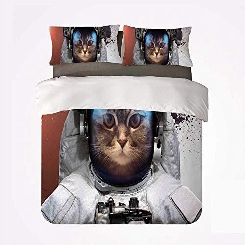 Funda nórdica Set Space Cat Varios 3 Conjunto de Boda, Street Art Grunge Telón de Fondo con Cosmonauta Cat en Traje Espacial Imagen para el hogar