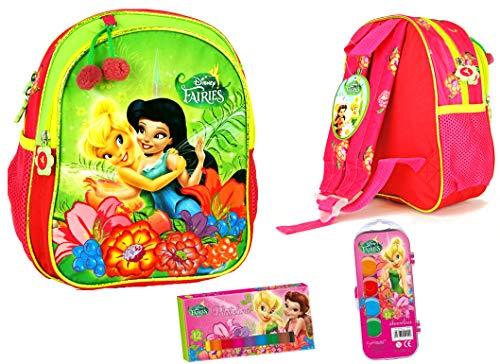 3 TLG Disney - Fairies Tinkerbelle - Super Set - Kindergarten-Rucksack/Kindergartentasche - Vorschul-Rucksack (27 x 24 x 14cm) + Deckfarbkasten + Knetebox