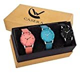 Casera Analog Multi Color Leathers Strap Pack of 3 Combo Watch for Girls and Women Watch