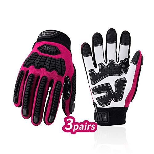 Vgo 3Pairs dames Premium geit lederen zware werk handschoenen, Touchscreen compatibel, klittenbandsluiting (Red, GA9701) Medium Rood