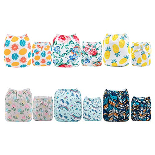 ALVABABY Baby Cloth Diapers 6 Pack with 12 Inserts Adjustable Washable and Reusable Pocket Dipaers Baby Boys 6DM58