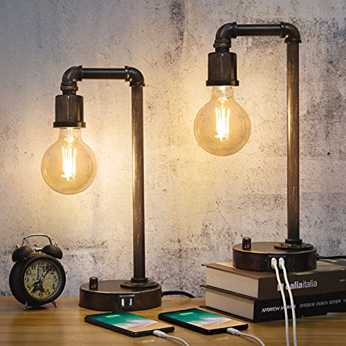 Industrial Table Lamps Set of 2, Fully Dimmable Vintage Lamp with Dual USB Ports, Rustic Steampunk Lamps, Retro Water Pipe Edison Lamps for Bedroom Living Room Office, G30 6W 2700K LED Bulbs Included