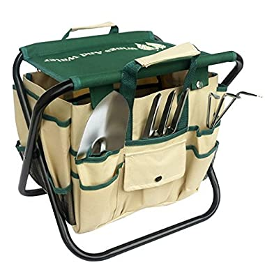 Wings and Water 7 Piece Garden Tool Set, All-In-One Tool Bag, Durable Folding Stool, Stainless Steel