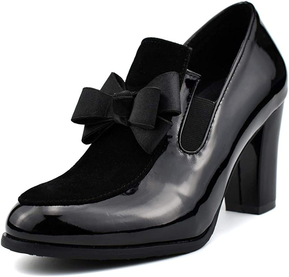 100FIXEO Sacramento Mall Women Bowknot Thick Heel Pumps Slip Patent Our shop OFFers the best service Leather On F