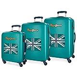Pepe Jeans Bristol Set 3 maletas bandera, 204 litros, 77 cm, Verde