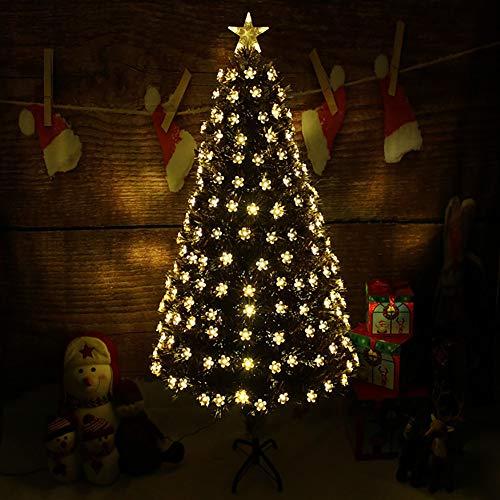 DULPLAY LED Christmas Tree Luxury Green Xmas Trees, with Lights Multi-Coloured Warm White Unlit Optical Fiber Tree-a 4Ft(120cm)