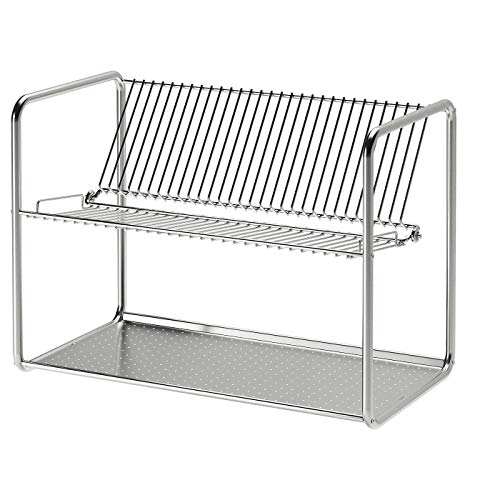 Dish Drainer, Stainless Steel, Assembled Size:Length: 50 cm Width: 27 cm Height: 36 cm