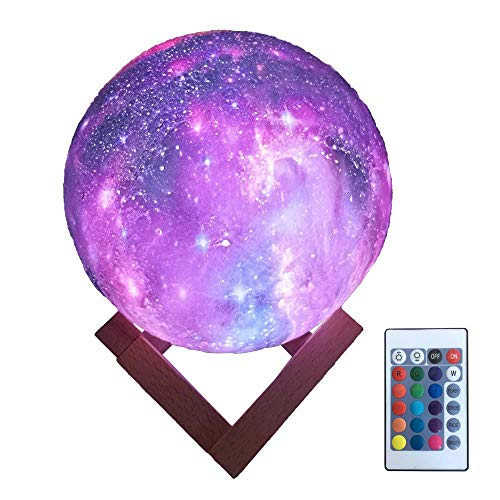 MAGICE 3D étoilé lumières de Lune avec télécommande, Créatif coloré Lampe de Chevet, en changeant d'USB 16 Couleurs Respirer la lumière pour Les Rencontres, Ambiance de Table,15cm