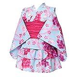 [アリサナ]arisana 浴衣 こども 女の子 セパレート 子供 (上衣・スカート・兵児帯の3点セット) B.桜うさぎ柄ブルー 120cm