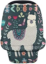 Forchrinse Cute Llama Floral Baby Car Seat Covers Stretchy Nursing Scarf Breastfeeding Cover Infant Carseat Canopy Multi-use Stroller Cover