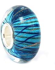 Perla de cristal con rayas y líneas de onda, para pulseras Pandora, Chamilia, Troll y Biagi, entre otros, color plateado y azul