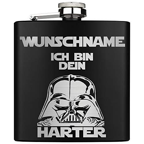 ZORR Flachmann mit Gravur Name Edelstahl Ich bin dein Harter Geschenk für Star Wars Fans Geschmacksneutral Rostfrei, Größe 6 oz 177 ml, Edelstahl Schwarz