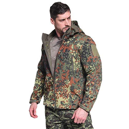 Ketamyy Herren Taktische Camouflage Jacke Wasserdicht Softshell Fleece Futter Herbst Winter Outdoor Trekking Jagd Wandern Regenfest Mäntel Mit Kapuze Deutsche Tarnfarbe 3XL