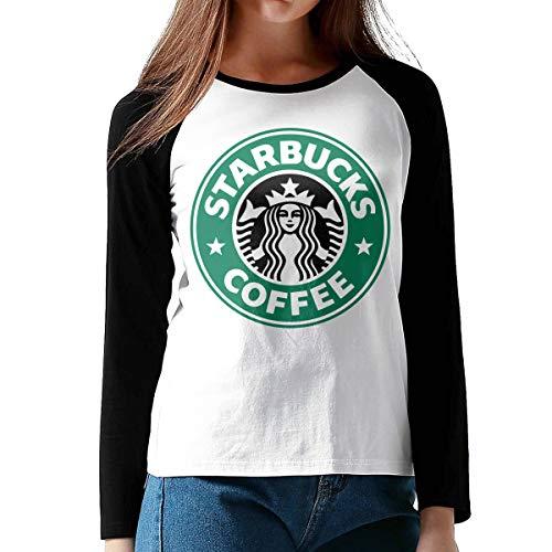 Damen Starbucks Logo Logo Merch Bekleidung T-Shirt Rundhalsausschnitt Tee T Shirt Baumwolle Sommer für Frauen Black S