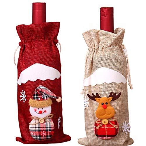 ▪ EMPEER ▪ Set mit 2 Ärmeln Rotweinflasche Juteflasche Beige Elch Rot Schneemann Party Farbfiguren Lustige lustige Geschenkideen Einladung Frohe Weihnachten