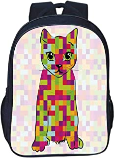 Modern Durable Backpack,Cute Kitty Featured Digital Fractal Pixel Cat Different Colors Computer Illustration for School Travel,11.8″L x 6.2″W x 15.7″H
