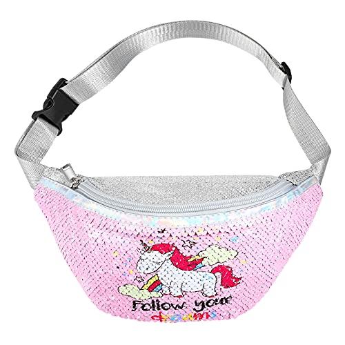 SOIMISS Paquete de Cintura de Lentejuelas de Brillo de Unicornio Rosa para Niñas Bolso de Correa de Bandolera de Cuerda Linda Bolsa de Viaje Bolsa de Cintura Regalo de Navidad