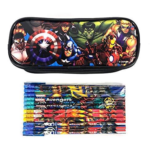 Marvel Avengers Black Pencil Case Pencil Pouch with 12 Pencils
