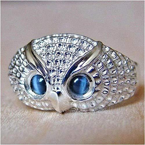 MMYY Anillo de plata de ley 925 con diseño de búho, color plateado, anillo de dedo punk fresco, anillo de piedra lunar con personalidad de búho, anillo 9