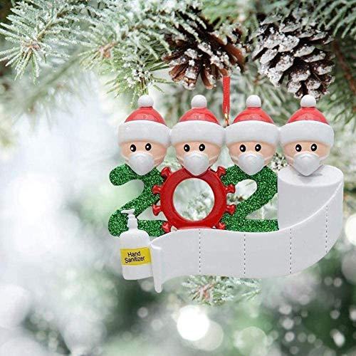 Christmas Decorations Funny Indoor, 2020 Christmas Ornament Quarantine Survivor Personalized Decorating Gifts Customized Party Decor for 4 Family Members