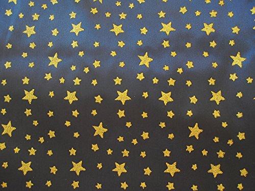 Satin Stoff Glitzer Sternenhimmel dunkelblau Sterne Meterware