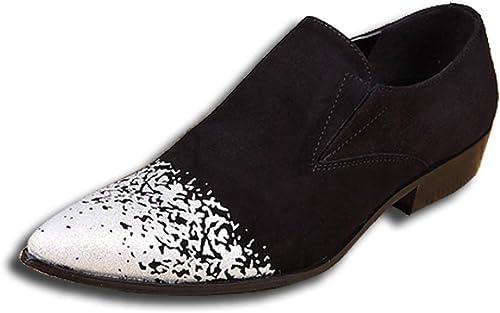 Rui Landed Oxford for Man Chaussures Formelles Slip on Style Ox Cuir délicate Texture en Relief Bout Pointu à la Mode Boîte de Nuit (Couleur   Blanc, Taille   45 EU)