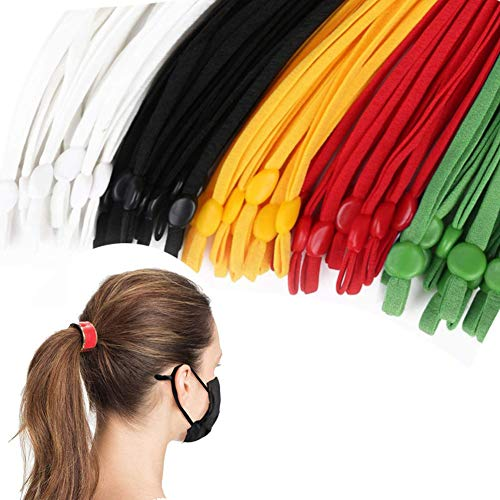 Atoli 100 Pieces Elastic Bands with Adjustable Buckle High Stretch String Cord Elastic Thread Rope for DIY Crafts Earloop Lanyard Earmuff Rope Elastic Cord for Masks Colored Ear Strap Rope