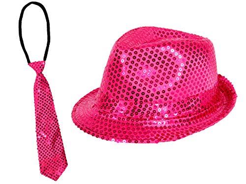 Alsino Glitzerhut mit Party Krawatte in Pink Karneval Party Set Pailletten