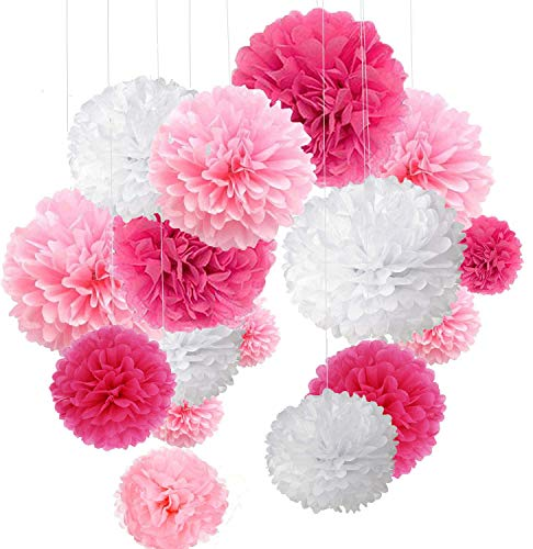 Decoración de Fiesta Pompom Flores,Kit de Fiesta de Pompones,Papel para Colgar Bola Decoración,pompones de papel,Flores Decoracion Cumpleaños - Rosa, rosa y blanco
