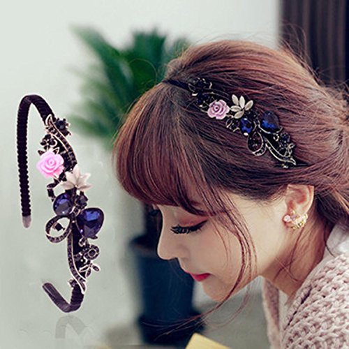 Simsly Crystal Headband with Flower Beaded Metal Hard Headpiece for Women and Girls (Color A) (Type 1)