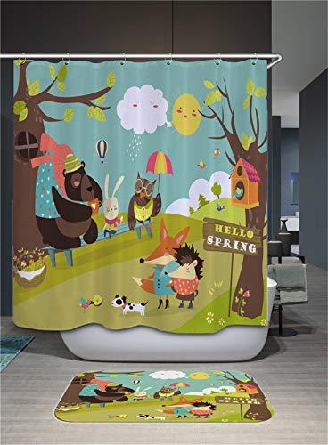 Fansu Duschvorhang Wasserdicht Anti-Schimmel Anti-Bakteriell, 3D Drucken 100prozent Polyester Bad Vorhang für Badzimmer mit C-Form Kunststoff Haken (120x180cm,Zoo)