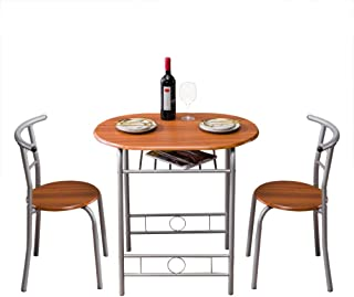 JTENGYAO 3 Piece Sets Dining Table with 2pcs Chairs Brown Wood Grain PVC Breakfast Table