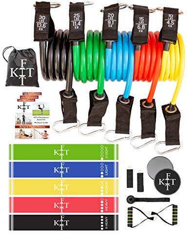 KITFit Resistance Bands for Exercise (19 pcs): Resistance Bands with Handles, Loop Resistance Bands, Door Anchor, Ankle Straps, Carry Bag, Core Workout Sliders, Exercise eBook