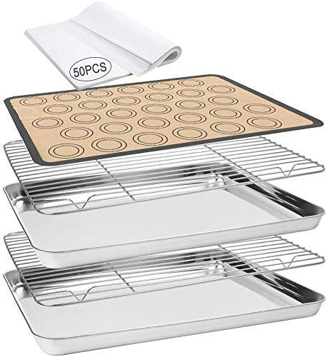 Alpacasso Backblech 55 PCS Backblech-Set mit 2 PCS Edelstahl-Backformen und Kühlregal, Silikon-Backmatte und 50 Pergamentpapieren Backofensicher Spülmaschinenfest