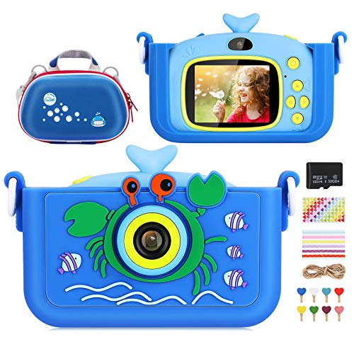 Luclay Fotocamera Bambini, Fotocamera Digitale per Bambini con Custodia per Fotocamera, Cover in Silicone, Adesivo Angolare, Scheda da 32 GB, Regalo per videocamera Antiurto da 20 MP HD 1080P (Blu 2)