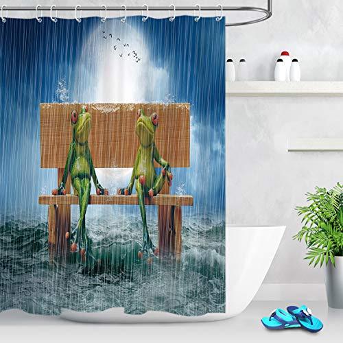 LB Grüner Frosch Duschvorhang Lustiges Tier,das hölzernen Stuhl im Ozean Polyester Stoff Extra Lang Bad Vorhänge Wasserdicht Anti Schimmel Badezimmer Deko Heimzubehör mit Vorhanghaken,180X180cm