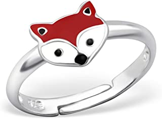 PTN Cute Fox Ring Colorful Fox Jewelry Animal Small Size Adjustable 3-4 Sterling Silver 925 (E27729)
