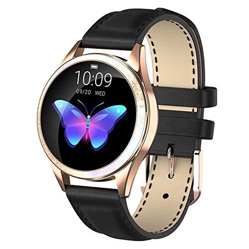 chebao, Reloj inteligente, resistente al agua con monitor de sueño, KW20 IP68 Reloj inteligente para mujer, pulsera Bluetooth de frecuencia cardíaca (cuero negro)