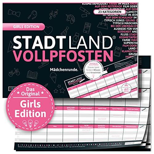 DENKRIESEN - Stadt Land VOLLPFOSTEN® - Girls Edition - Stadt Land FLUSS FÜR MÄDCHEN - Spiel FÜR MÄDCHEN - Geschenk FÜR MÄDCHEN