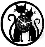 Instant Karma Clocks Reloj de Pared de Vinilo Idea Regalo Vintage Hecho a Mano Pareja Gatos