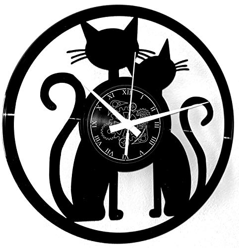 Instant Karma Clocks Orologio da Parete in Vinile Idea Regalo Vintage Handmade Coppia Cats Gatto Gatti