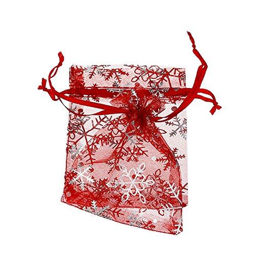 YFZYT Net Yarn Organza Taschen, Bunte Schneeflocke Pattren Hard Pearl Schmuck Chiffon Wrapping Taschen Kordelzug Beam Taschen Sachet Taschen für Hochzeitsfest Geschenk Candy - 100pcs, 7x9 cm, Rot#D