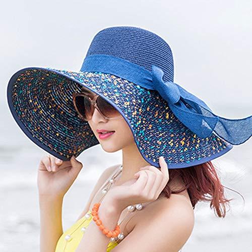 LSJYF Mode Bogen Vintage Hut Sommer Breit Entlang Bogen Visier Sun Beach Strohhut Süßigkeiten Farbige Sonnenhüte Für FrauenMarineblau