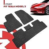 BougeRV Für Tesla Model 3 Fussmatten 2017-2021, Fußmatten Gummimatte SetAutomatten Zubehör Wasserdicht AutoteppichSet für Model 3