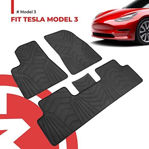 BougeRV Für Tesla Model 3 Fussmatten Fußmatten Gummimatte SetAutomatten Zubehör Wasserdicht AutoteppichSet für Model 3 2017 2018 2019 2020