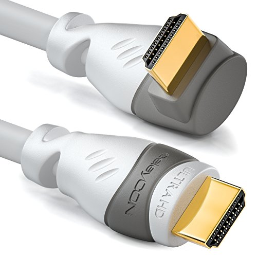 deleyCON 1,5m Cavo HDMI con un Angolo di 90° - Compatibile con HDMI 2.0/1.4 - UHD 4K HDR 3D 1080p 2160p ARC - High Speed con Ethernet - Bianco